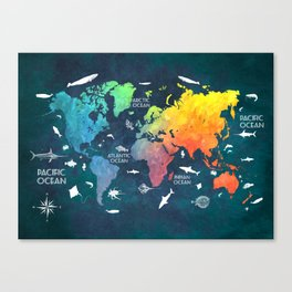 Ocean World Map color #map #worldmap Canvas Print