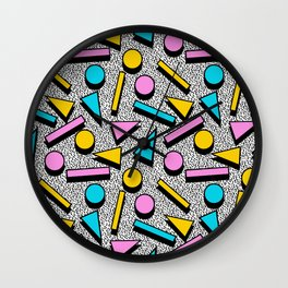 Dig It - memphis throwback retro neon cool rad pattern dorm college hipster neon squiggle abstract Wall Clock