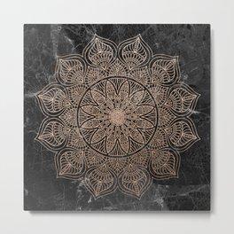 Mandala - rose gold and black marble 4 Metal Print