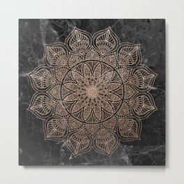 Mandala - rose gold and black marble 4 Metal Print