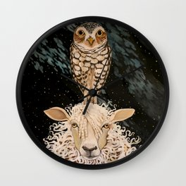 Ewe and Owl Wall Clock