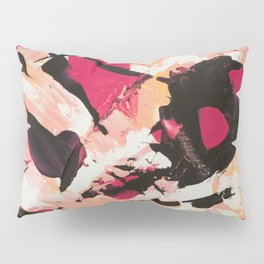 Bloom where you are planted | pink black coral abstract acrylic painting Pillow Sham