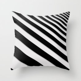 Perspective Solid Lines - Black and White Stripes - Digital Illustration - Artwork Throw Pillow
