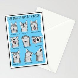 The many faces of a husky Stationery Cards