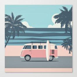 Surfer Graphic Beach Palm-Tree Camper-Van Art Canvas Print