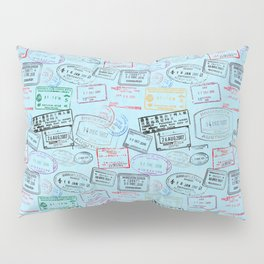 Worldly Traveler - Passport Pattern - Light Blue Pillow Sham