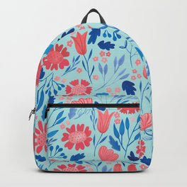 Gouache Floral no.2 | Red, Pink & Blue Backpack