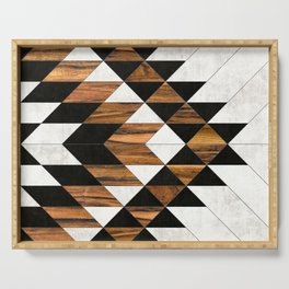 Urban Tribal Pattern No.9 - Aztec - Concrete and Wood Serving Tray