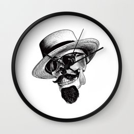 Hipster Skull in Black and White Wall Clock