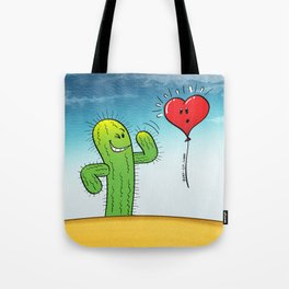 Spiky Cactus Flirting with a Heart Balloon Tote Bag