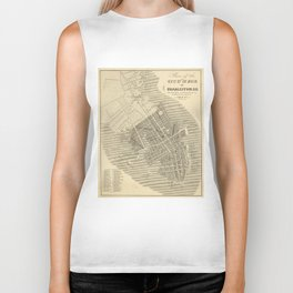 Vintage Map of Charleston South Carolina (1844) Biker Tank