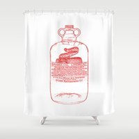 oil Shower Curtains featuring snake oil by looseleaf