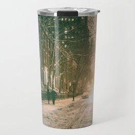 Winter - New York City - Snows Falls - Washington Square Travel Mug