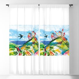 Swallow in the fairytale, painted pattern for kids, colourfull illustration Blackout Curtain