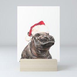 Christmas Baby Hippo Mini Art Print