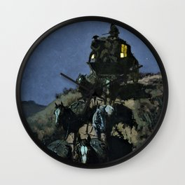Frederic Remington - The Old Stage - Coach of the Plains - Digital Remastered Edition Wall Clock