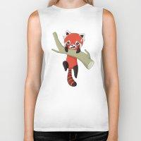 red panda Biker Tanks featuring Red Panda by Freeminds
