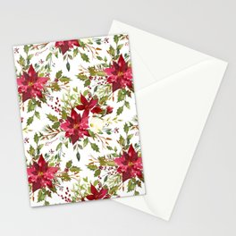 Watercolor pink green hand painted floral berries Stationery Cards