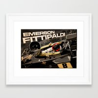f1 Framed Art Prints featuring Emerson Fittipaldi  - F1 1972 by Evan DeCiren