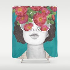 The optimist // rose tinted glasses Shower Curtain