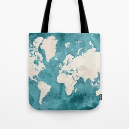 Teal watercolor and light brown world map Tote Bag