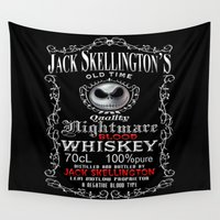 jack skellington Wall Tapestries featuring Halloween Parody Nightmare jack skellington by Three Second