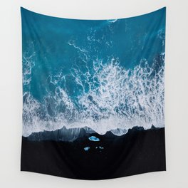 Abstract and minimalist black sand beach in Iceland with chunks of Ice and waves - moody Landscapes Wall Tapestry