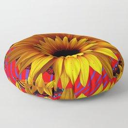 ANTIQUE GOLDEN SUNFLOWER RED MODERN ART Floor Pillow