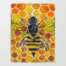 Bee & Honeycomb Poster