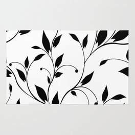 FLOWERY VINES | white black Rug