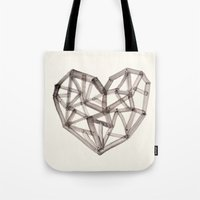 wooden Tote Bags featuring Wooden Heart by Picomodi