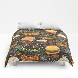 Graphic seamless pattern bright tasty burgers on a dark background Comforters