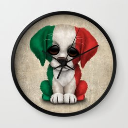 Cute Puppy Dog with flag of Italy Wall Clock