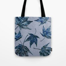 Japanese maple leaves - blue on faded lavender Tote Bag