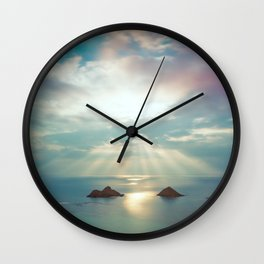 Moon rise above Hawaii Wall Clock
