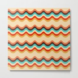 Retro style colorful waves pattern Metal Print