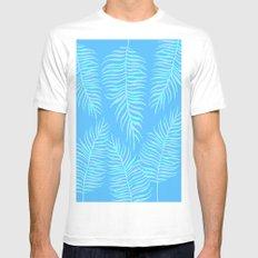 Fern pattern on light blue background MEDIUM White Mens Fitted Tee