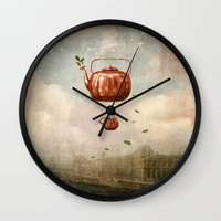 tea Wall Clocks featuring Tea for Two at Dusk by Paula Belle Flores