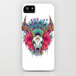 Stag Skull and Flowers iPhone Case