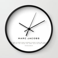 marc johns Wall Clocks featuring Marc Jacobs by Courtney Burns