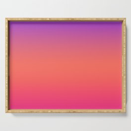 Gradient Neon Ultra Violet Coral Pink Ombre Pattern Cute Trendy Soft Texture Serving Tray