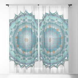 Lotus Flower - green Sheer Curtain