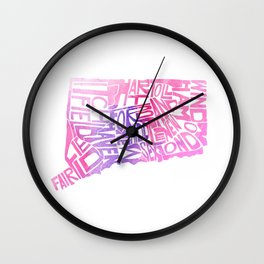 Typographic Connecticut - pink watercolor map Wall Clock