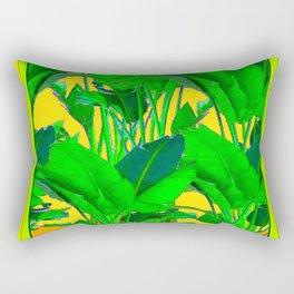 YELLOW GREEN & GOLD TROPICAL  GREEN FOLIAGE ART Rectangular Pillow