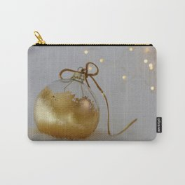 Golden Christmas Ball with Small Lights Carry-All Pouch