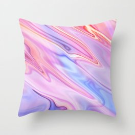 Colorful flowing marble swirls background Throw Pillow