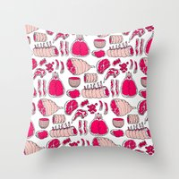 meat Throw Pillows featuring Meat by Rot Rabbit