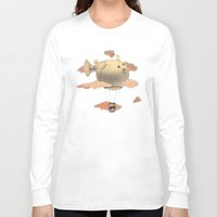 gorillaz Long Sleeve T-shirts featuring Panda fliying in a Blow fish 2 by Barruf
