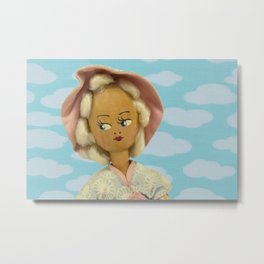 Girl With Clouds Metal Print