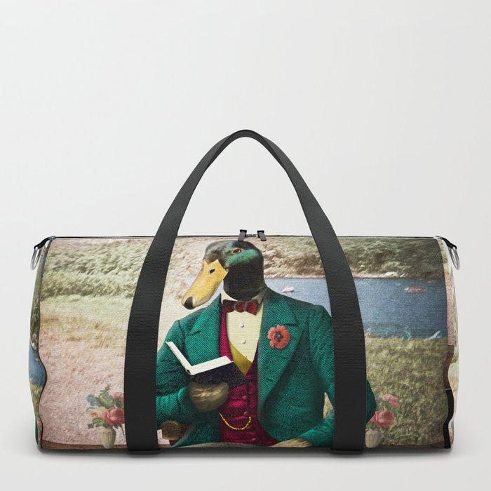 Monsieur Mallard Reading an Improving Book Duffle Bag
